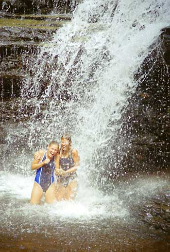 Erin and Amy in the Waterfall
